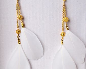 Royal white Long Feather Bright Summer Party Earrings