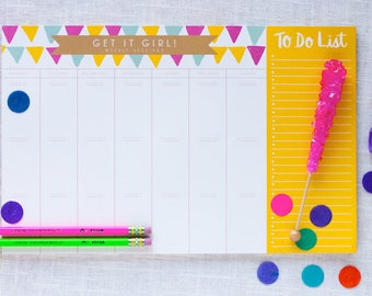 Weekly Desk Planner - Desk Planner - Large Desk Pad - To Do Checklist - Custom Printed Notepad - Teacher Planner