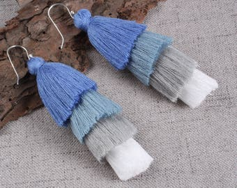 Four Layered White Gray Blue Tassel Earrings With Sterling Silver Ear Wires Dangle Earrings Long Statement Earrings