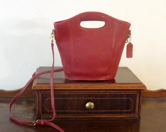 Etsy BDay SaleCoach Mini Shopper In Red Leather With Brass Hardware Style 9993 - Made In United States- VGC