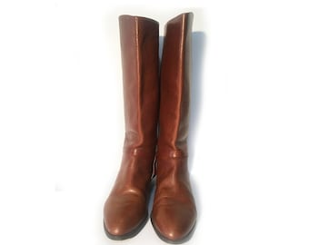 Classic, Pointed Toe, Brown Leather, Riding Boots 9M