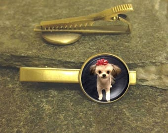Pet Tie Clip, Photo tie clip, Custom Photo Tie Clip, Gold or Silver Tie Clip, Personalized Tie Bar