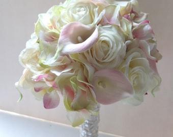 Blush Pink Calla Lily & Hydrangeabouquet, Bridal Bouquet, wedding bouquet