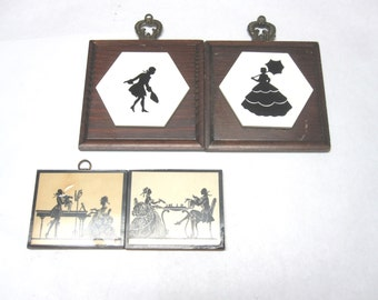 Four Silhouettes French Old South Tile Plaque