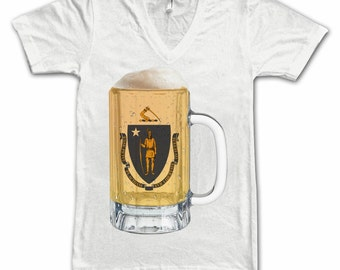 Ladies Massachusetts State Flag Beer Mug Tee, Home State Tee, State Pride, State Flag, Beer Tee, Beer T-Shirt, Beer Thinkers, Beer Lovers