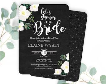 Let's Shower the Bride, Bridal Shower Invitation, Chalkboard Floral Bridal Shower Invite, Cream, Blush and Black Bridal Shower Invitation