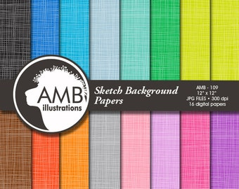 Texture Digital Papers, Sketch Digital Pattern, Color on color backgrounds, scrapbook papers for invites and crafts, AMB-109
