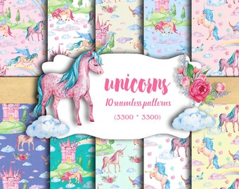 Digital paper Unicorns,Pegasi,Alicorn. Seamless patterns, watercolor, fairy prints for baby, scrapbooking.