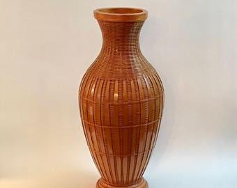 Vintage Rattan Flower Vase, Pottery Liner