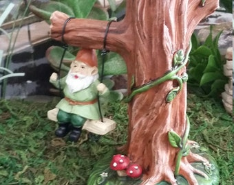 Fairy Garden Miniature Gnome on a Swing, Resin Fairy Garden Tree with Swinging Gnome For Fairy Garden, Gnome Village Accessory