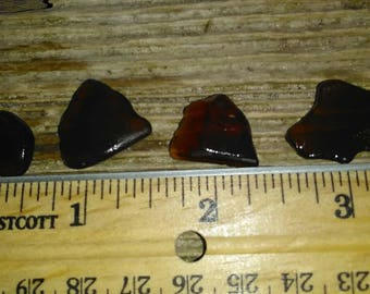 4 piece Brown Lake Michigan Beach Glass Fresh Picked!