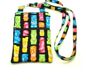 iPhone Cell Phone Case, Smartphone Phone Purse, Small Cross Body Bag, Adjustable Strap, Colorful Tiki Totems on Black 5287 5288