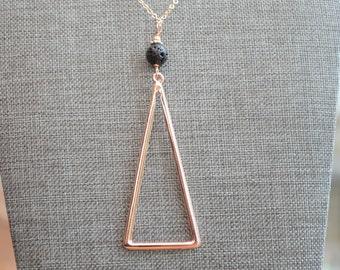 Triangle Lava Necklace, Essential Oil Necklace, Oil Diffuser Necklace, Lava Necklace, Diffuser Necklace, Lava Rose Gold Necklace, Lava