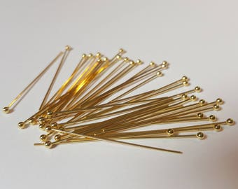 Pack of 50, 22k vermeil gold plated gold sterling silver 30mm headpin, 0.5mm thick pin, 1.5mm ball [our ref: 08-0678]