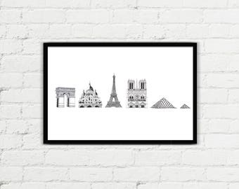 Paris Famous Landmark Illustration Print // Digital Download // Eiffel Tower // Notre Dame de Paris // Sacre Coeur // Arc De Triomphe
