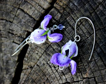 Violet Iris flowers jewelry made of polymer clay, Silver 925 earrings, ladies silver jewelry gift, polymer clay jewelry, silver jewelry