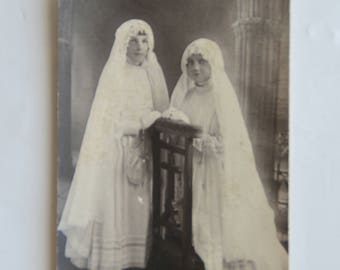 Black and white old photo, communicants, french vintage, sepia, 1931, retro
