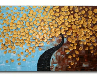 Original Modern  Gold Tree  Acrylic  Impasto Textured  Palette Knife  Painting . MADE2ORDER.