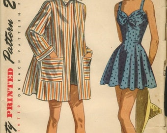1940s Skirted Swimsuit Cover Up Robe Bathing Suit Pattern One Piece Swimsuit Simplicity 2441 Size 14 Bust 32 Women's Vintage Sewing Pattern