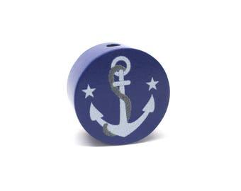 Flat wooden bead anchor Navy Blue