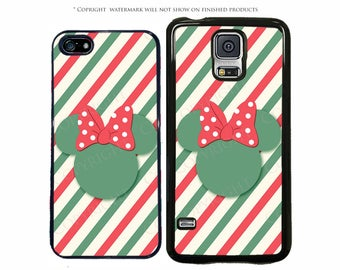 Disney Minnie Mouse Candy Stripe Christmas Phone Case for Apple iPhone 7, 7 Plus, iPhone 8, Galaxy S8, S7, S7 Edge, LG, Pixel, XL, Note 8