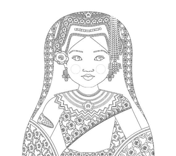 Cambodian Dancer Doll Traditional Dress Coloring Sheet Printable