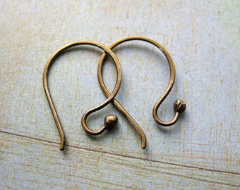 Antiqued Brass Ball Tipped Ear Wires - 1 pair - 20mm