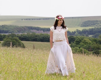 Bridal Skirt - Long skirt in Ivory hemp silk