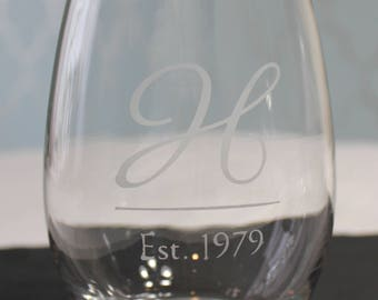 Personalized Etched Wine Glass - 21 oz