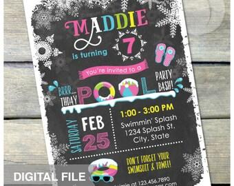 "Pool Party Chalkboard Birthday Invitation Pink Winter Snow Indoor Swimming Bash - DIGITAL Printable Invite - 5"" x 7"""