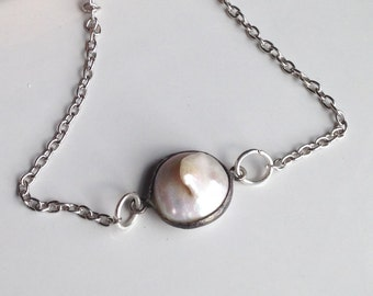 Coin Pearl Necklace, Unique Pearl, Bezel Set Coin Pearl, Silver Plated Chain Necklace, Simple Necklace, Etsy, Etsy Jewelry