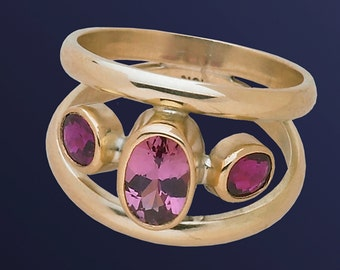 Pink Sapphire and floating Ruby Ring