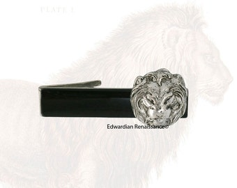 Lion Head Tie Clip Antique Sterling Silver Neo Victorian Leo Vintage Inspired with Set Options