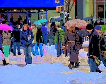 Snow Union Square on a Snow day New York Blizzard pop art wall art canvas street scene colors
