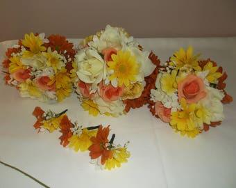Pre Made Orange/Yellow/Ivory Wedding Bouquets
