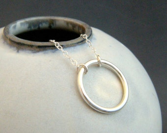 """eternity circle necklace. sterling silver circle necklace. large ring. simple. delicate. dainty. everyday. zen jewelry. 3/4"""" open circle"""