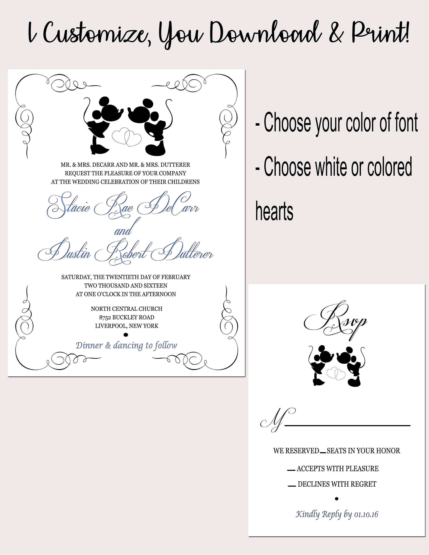 Disney Wedding Invitation RSVP Download