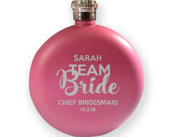 Engraved HEN BACHELORETTE hip flask gift, Team Bride - chief bridesmaid - 5PK-HENT4