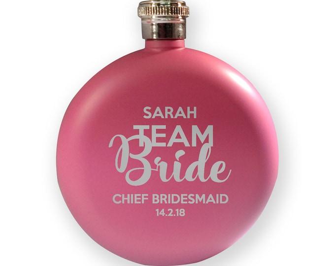 Engraved HEN BACHELORETTE hip flask gift, Team Bride - chief bridesmaid - 5PK-HENT4