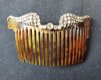 Antique Celluloid and Rhinestone Hair Comb Late 1800's - Early 1900's Victorian Edwardian Original