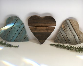 """Rustic authentic barnwood hearts 9""""x 9"""" -buy three and SAVE!"""