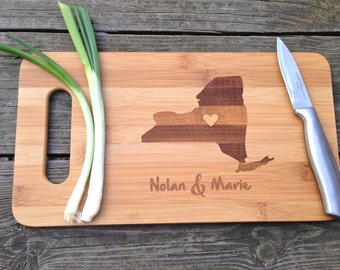 ANY USA State Cutting Board - Engraved PERSONALIZED Cutting Board 14 X 7.5 Bamboo Cutting Board Wood Wedding Gift Anniversary Gift