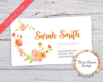 Coral Floral Printable Business Card