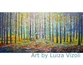 Spring Landscape Large Abstract Painting Pollock Inspired Impasto Trees The FOREST by Luiza Vizoli 48x24