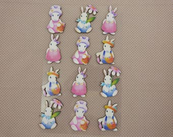 Wooden subjects embellishment: Easter bunnies