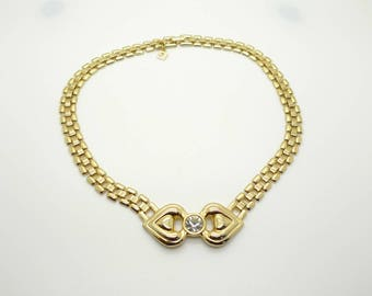 Vintage Flat Gold Chain and Crystal Pendant Necklace Choker