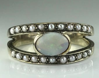 Vintage Opal and Seed Pearl Ring. 9K Yellow Gold Split Shank Setting. Unique Engagement Ring. October Birthstone. 14th Anniversary. Estate