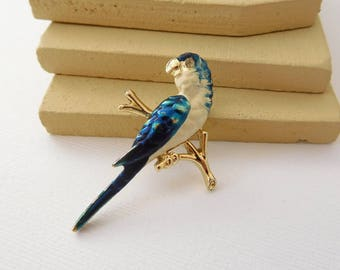 Vintage White & Blue Parrot On Branch Tropical Bird Figural Brooch Pin DD12