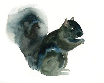 BLACK SQUIRREL-10x8inch print-Children's Decor-Art for Children-kids wall art-Nursery art -Animal lover