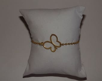 Fine gold chain bracelet and gold Butterfly